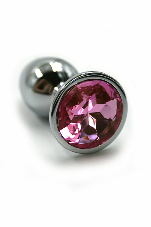 Серебряная анальная пробка с нежно-розовым кристаллом (Medium) фото