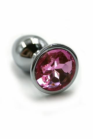 Серебряная анальная пробка с нежно-розовым кристаллом (Medium)
