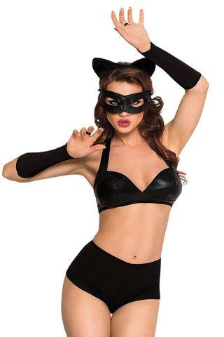 Костюм кошечки SoftLine Collection Catwoman (бюстгальтер, шортики, головной убор, маска и перчатки),