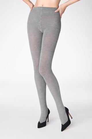 Эластичные, теплые колготки Cotton 120 den серого цвета