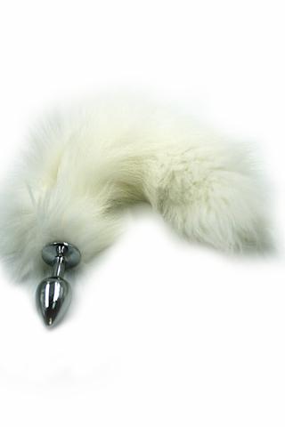 Серебряная анальная пробка с хвостом из натурального меха (Small)