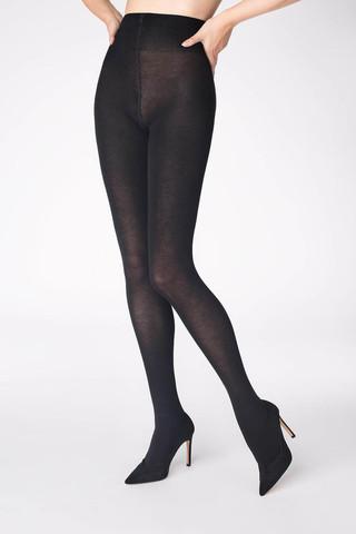 Эластичные, теплые колготки Cotton 120 den черного цвета