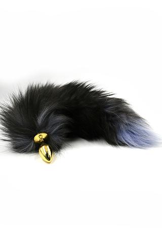 Золотая анальная пробка с хвостом из натурального меха (Small), 336455