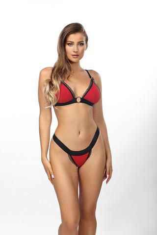 Красный комплект нижнего белья с широкими черными стрэпами