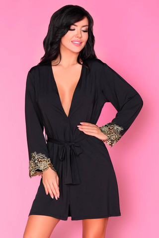 Элегантный короткий пеньюар Marita выполнен из эластичной атласной ткани черного цвета
