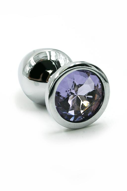 Серебряная анальная пробка со светло-фиолетовым кристаллом (Small) фото