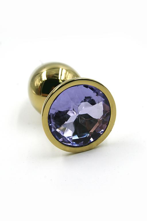 Золотая анальная пробка со светло-фиолетовый кристаллом (Small) фото