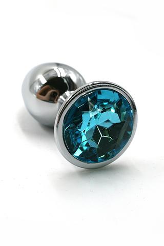 Серебряная анальная пробка с нежно-голобым кристаллом (Small)