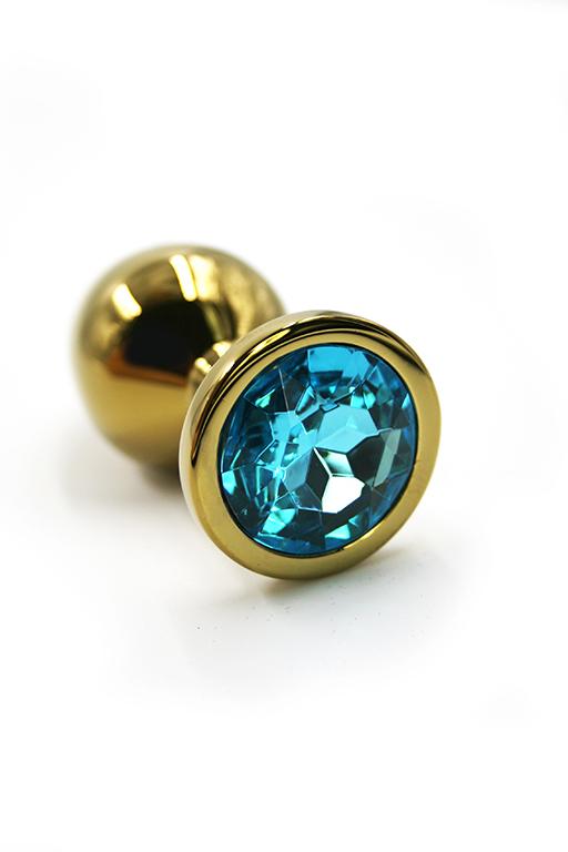 Золотая анальная пробка с нежно-голубым кристаллом (Small) фото