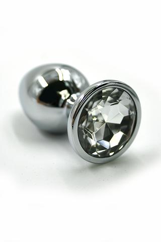 Серебряная анальная пробка с прозрачным кристаллом (Large)