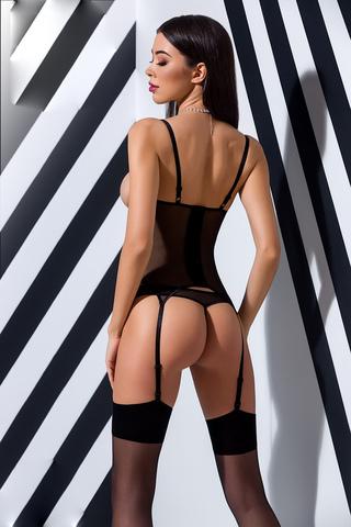 Полупрозрачный корсет Heidi черного цвета с подвязками для чулок