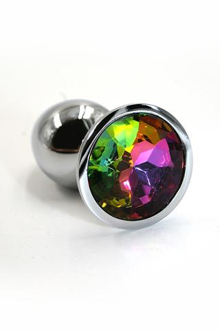 Серебряная анальная пробка с радужным кристаллом (Medium)