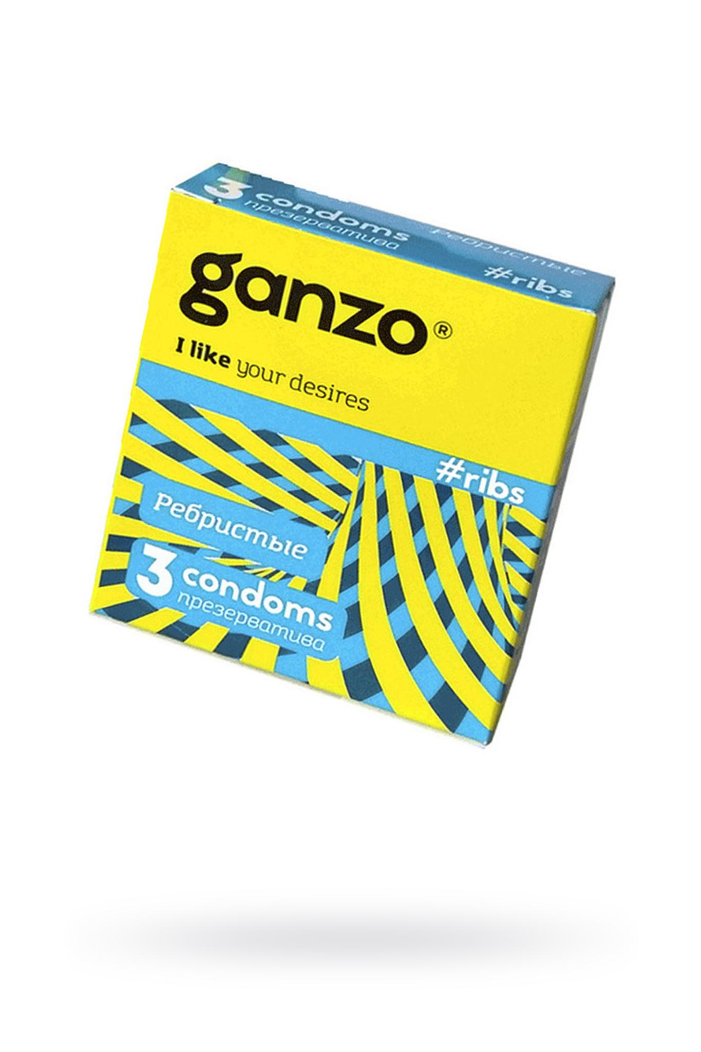Презервативы Ganzo Ribs, с ребристой поверхностью, латекс, 18 см, 3 шт фото