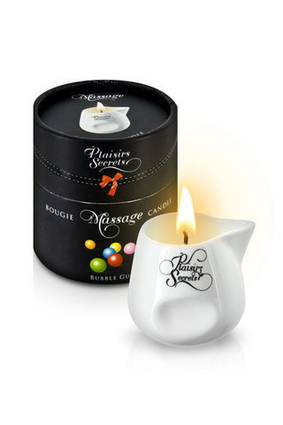 MASSAGE CANDLE BUBBLE GUM 80ML Свеча с массажным маслом с ароматом фруктовой жевачки 80 мл