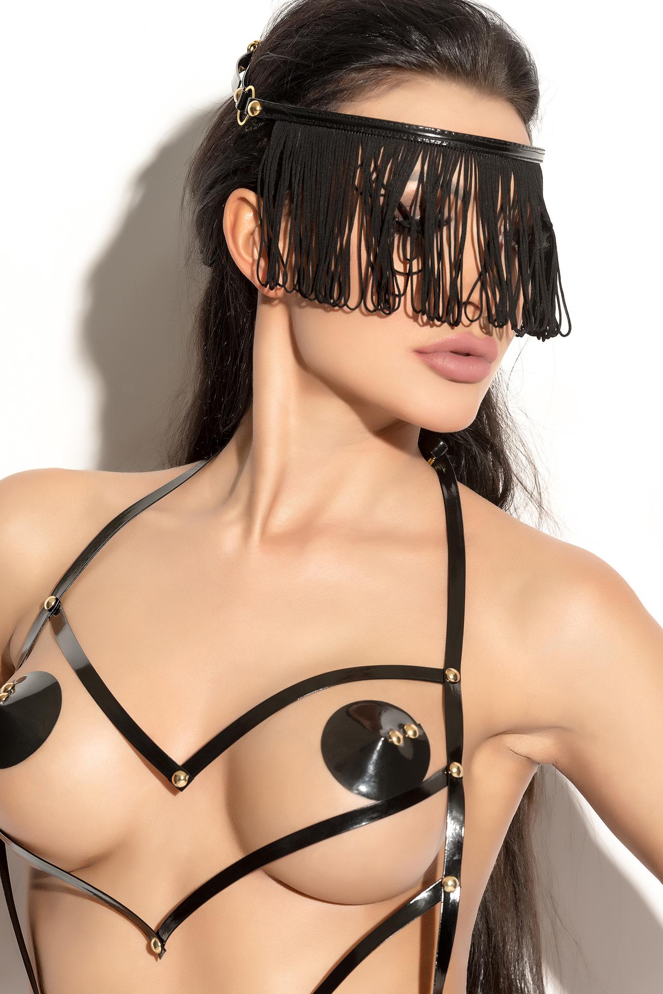 Украшение на голову Me Seduce Queen of hearts с длинной бахромой, черное, OS фото