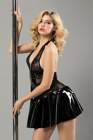 Платье лаковое на молнии и стринги Candy Girl Harlow черные, XL