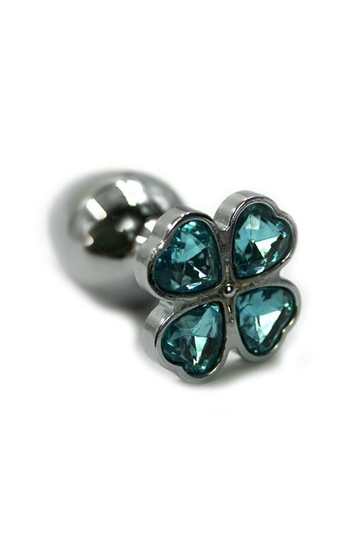 Серебряная анальная пробка с нежно-голубыми кристаллами в форме цветка (Small) фото