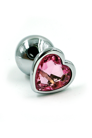 Серебряная анальная пробка с нежно-розовым кристаллом в форме сердца (Medium)