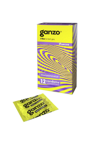 Презервативы Ganzo Sense, ультратонкие, латекс, 18 см, 12 шт