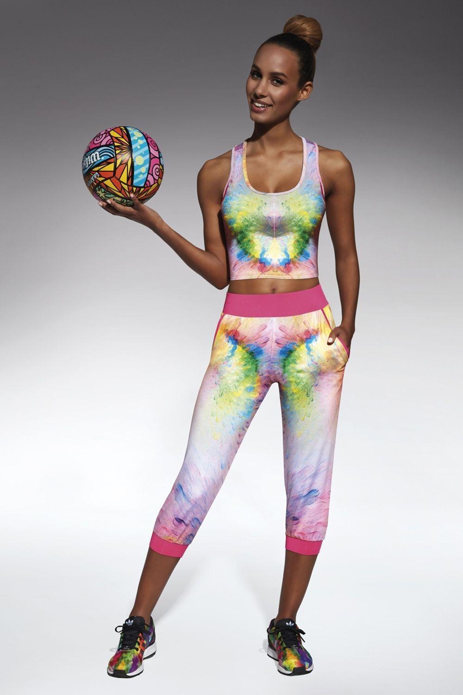 Разноцветные легинсы для фитнеса Exotic 200 den изготовлены из полностью непрозрачного, эластичного, корректирующего фигуру материала фото