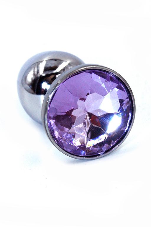 Серебряная анальная пробка с нежно-фиолетовым кристаллом (Small) фото