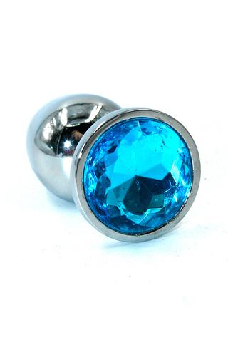 Серебряная анальная пробка из хромированной стали с ярко-синим кристаллом (Medium)