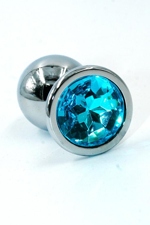 Серебряная анальная пробка с ярко-голубым кристаллом (Small) фото
