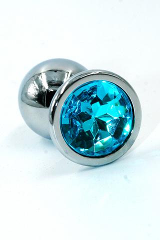 Серебряная анальная пробка с ярко-голубым кристаллом (Small)