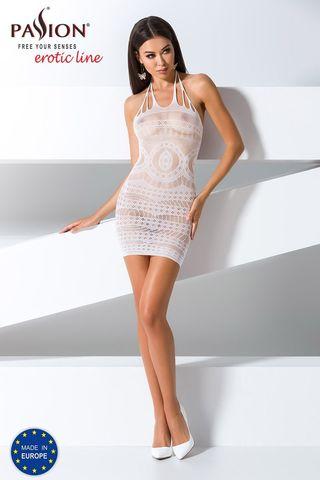 Белое эротическое платье-сетка BS063