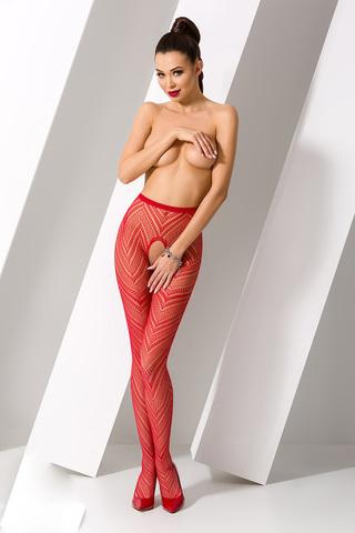 Эротичные колготки с доступом S010 красного цвета