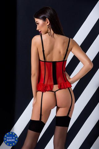 Эротический полупрозрачный корсет Cherry красного цвета с открытым лифом