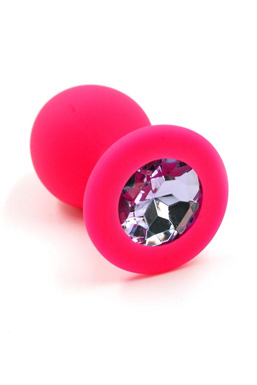 Розовая анальная пробка из силикона с нежно-фиолетовым кристаллом (Medium) фото