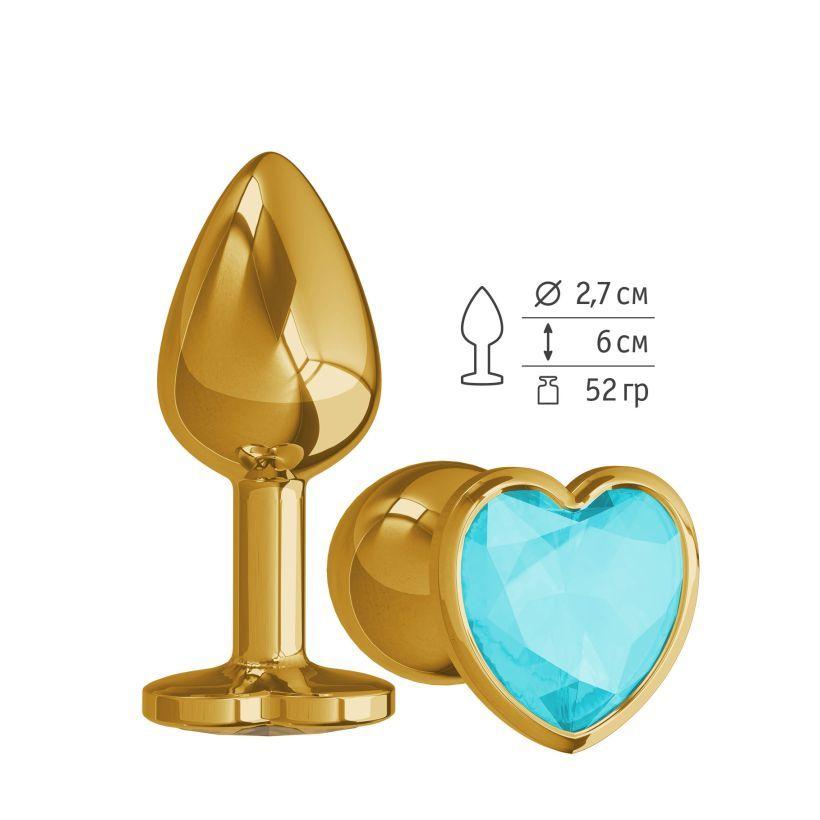 Анальная втулка Gold с голубым кристаллом сердце маленькая фото