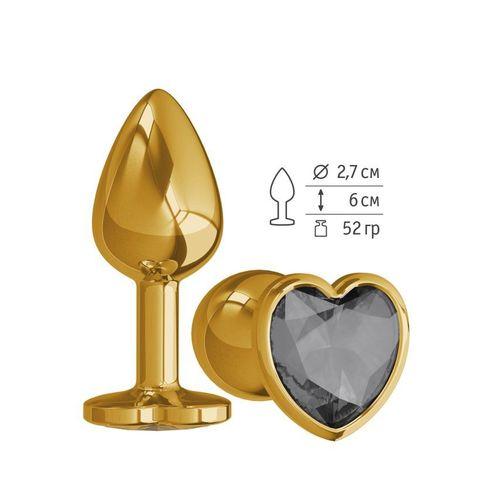 Анальная втулка Gold с чёрным кристаллом сердце маленькая