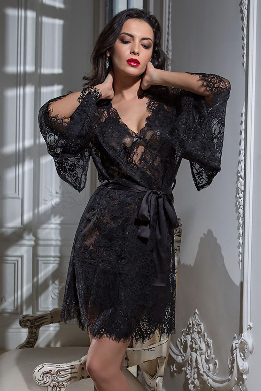 Кимоно Mia Amore выполнено из тончайшего французского кружева Шантильи (Chantilly) с изысканным рисунком по низу кимоно и рукавам фото