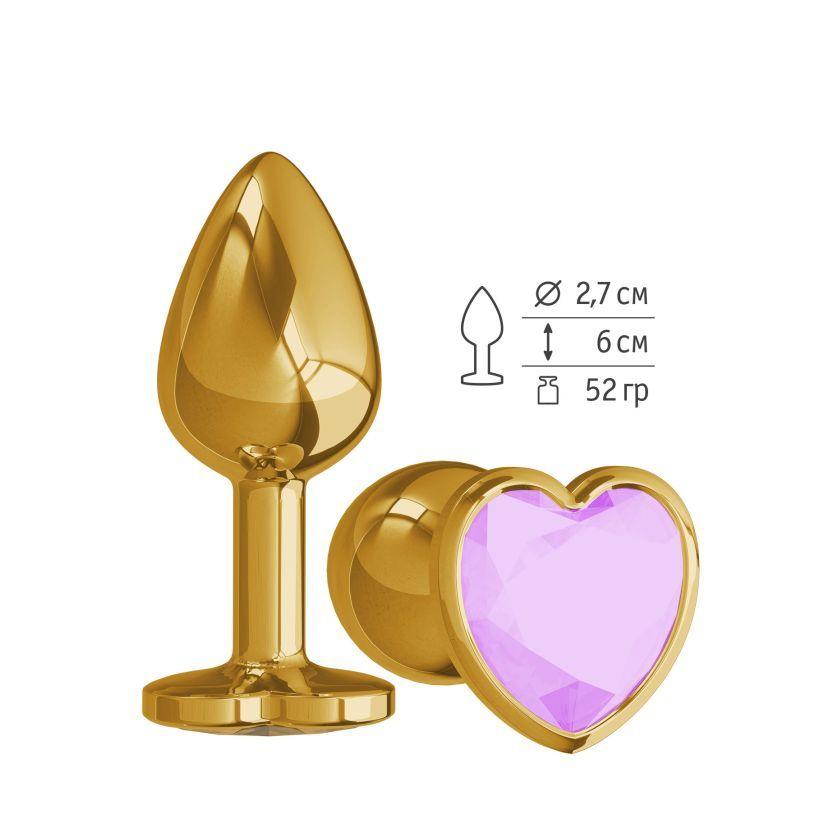 Анальная втулка Gold с сиреневым кристаллом сердце фото