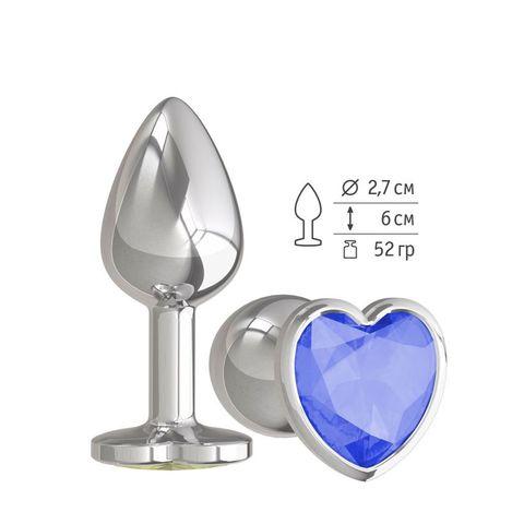 Анальная втулка Silver с синим кристаллом сердце маленькая