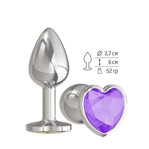 Анальная втулка Silver с фиолетовым кристаллом сердце маленькая