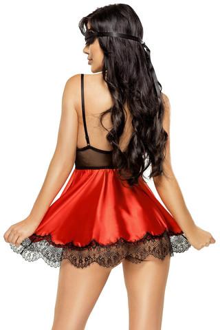Очаровательная сорочка Eve красного с черным цветом, выполнена из атласа и красивого нежного кружева