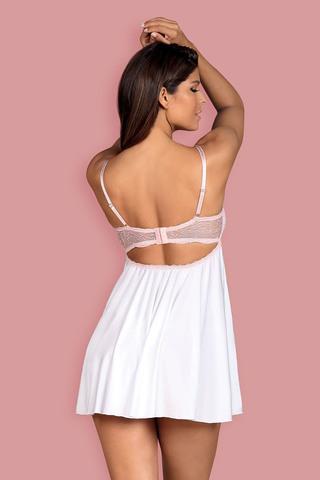 Восхитительная сорочка-бэбидол Girlly с комбинированными чашками на косточках, верх выполнен из кружевного полотна, а низ на тонком поддерживающем поролоне