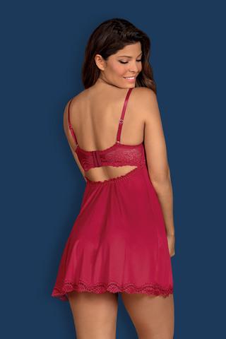 Восхитительная сорочка-бэбидол Rosalyne с комбинированными чашками на косточках, верх выполнен из кружевного полотна, а низ на тонком поддерживающем поролоне