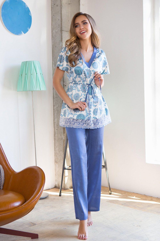 Комплект домашний женский выполнен из мягкого шелка-сатина фото