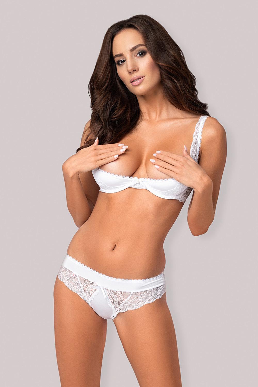Сексуальный комплект белья с кружевом Obsessive Miamor белого цвета состоит из открытого гладкого лифа с чашечками на костях и поролоне и трусиков фото