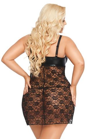 Платье wetlook SoftLine Collection Marion, черный, XXXL
