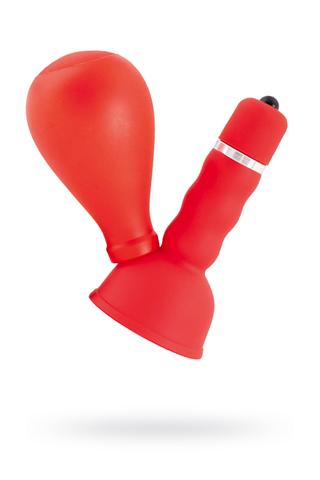 Вибромассажер для сосков Black & Red by TOYFA с грушей, ABS пластик, красный, 8,2 см
