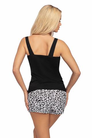 Пижамы Bonnie состоит из черной майки на широких бретелях и принтованных шорт