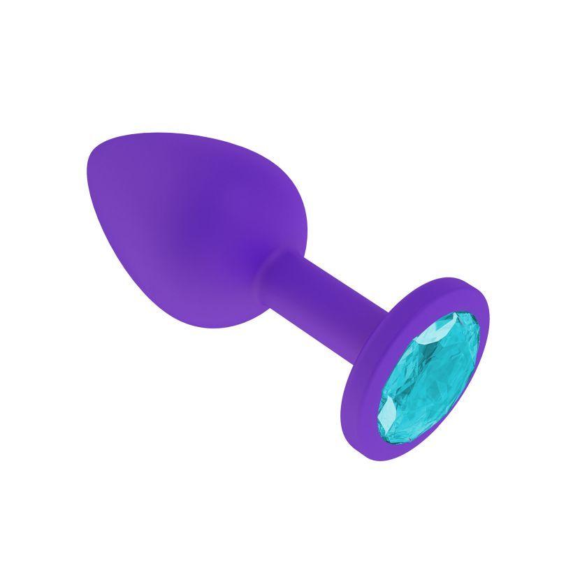 Анальная втулка силиконовая фиолетовая с голубым кристаллом маленькая фото