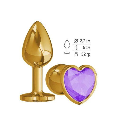 Анальная втулка Gold с фиолетовым кристаллом сердце маленькая