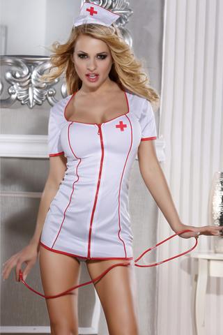 OS Костюм медсестры Candy Girl Angel (платье, стринги, головной убор, стетоскоп), белый