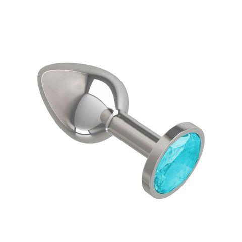 Анальная втулка Silver с голубым кристаллом маленькая